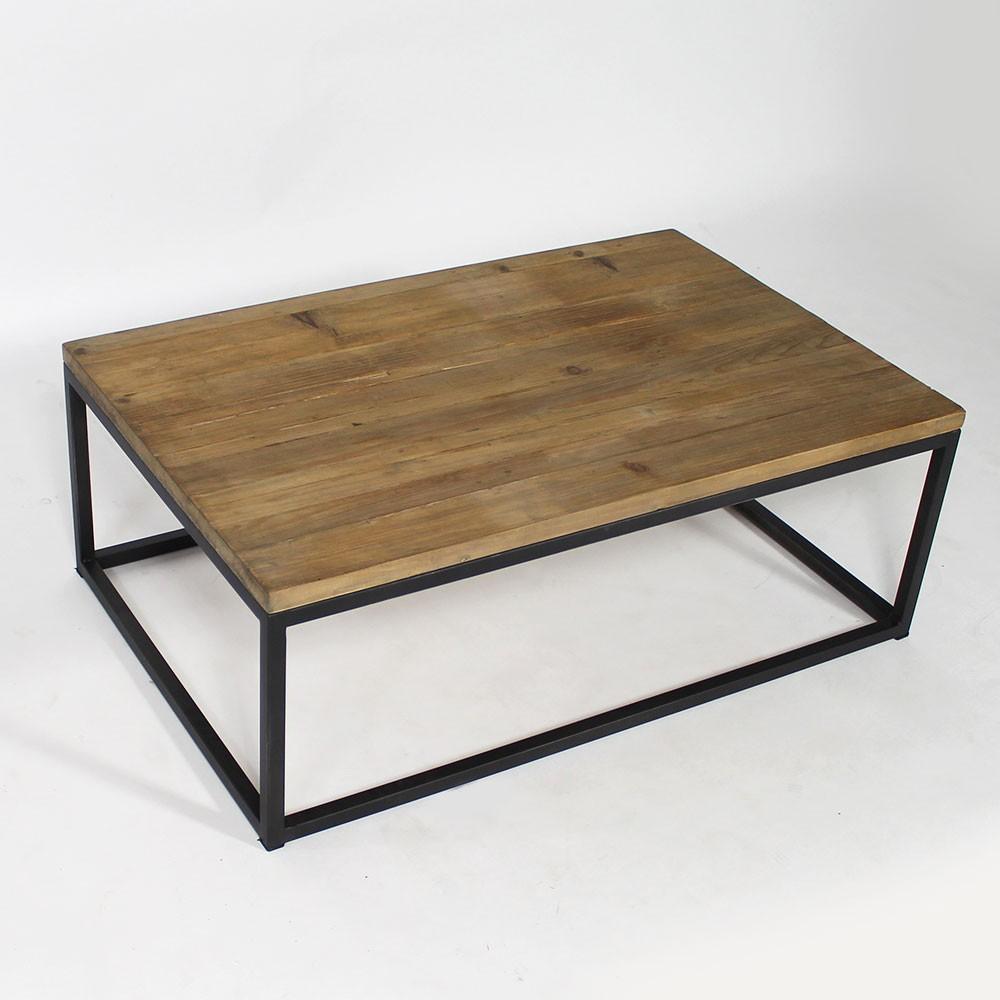 Table basse bois acier rectangle