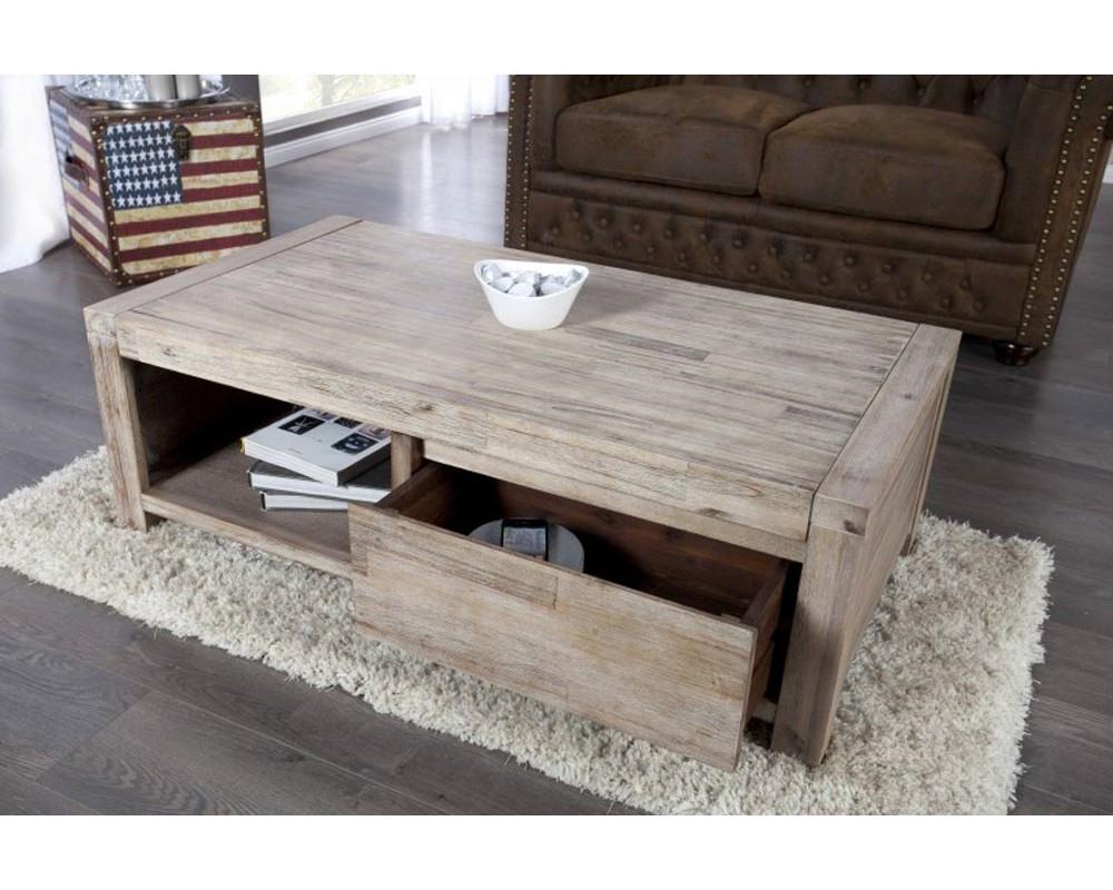 Table basse blanc et bois gris