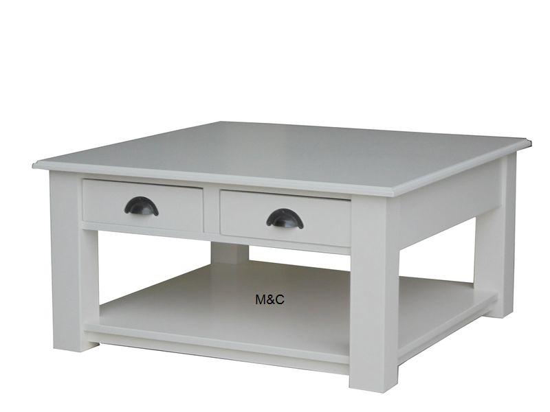 Table basse carré blanc et bois