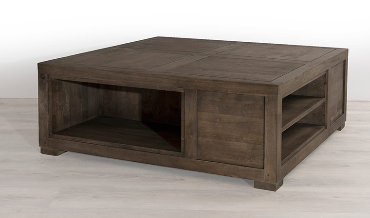 Table basse carrée en bois longueur 90 cm freesia