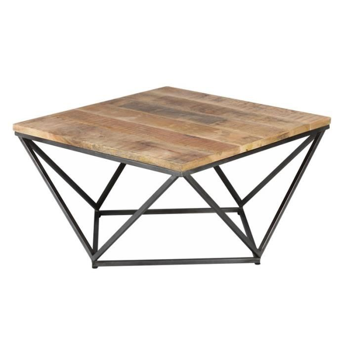 Table basse carree metal bois