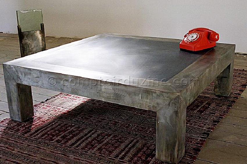 Table basse zinc bois