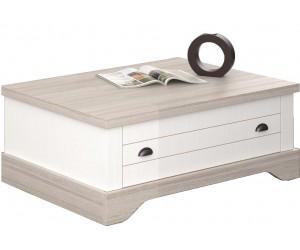 Table basse bois blanc avec tiroirs