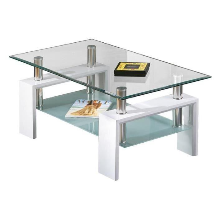 Table basse blanc et bois et verre
