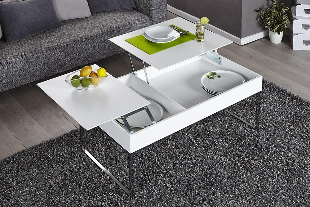 Table basse relevable gloria laqué blanc