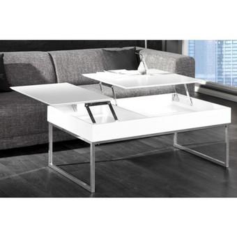 Table basse avec tablette relevable blanche