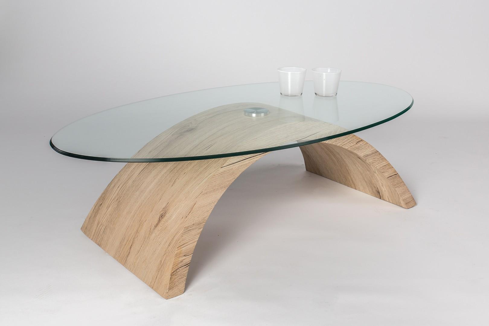 Table basse verre et bois carre