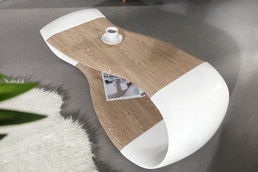 Table basse design bois et blanche