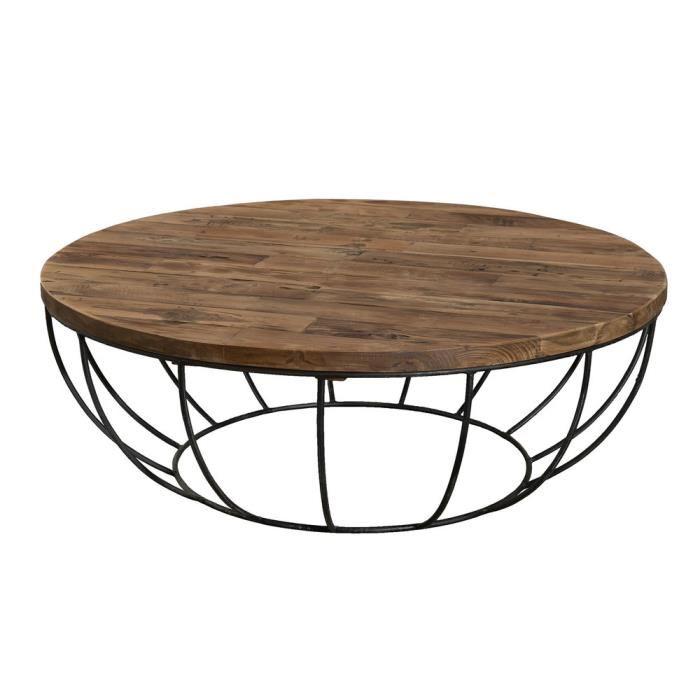 Table basse ronde bois pas cher