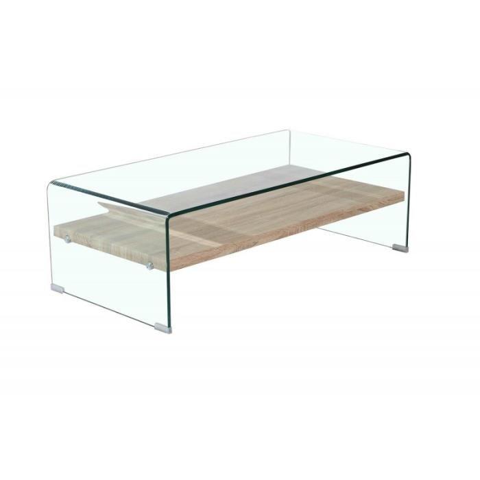 Table basse vitrée et bois