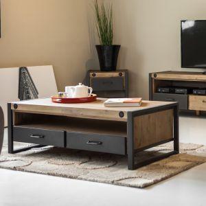 Table basse industriel bois