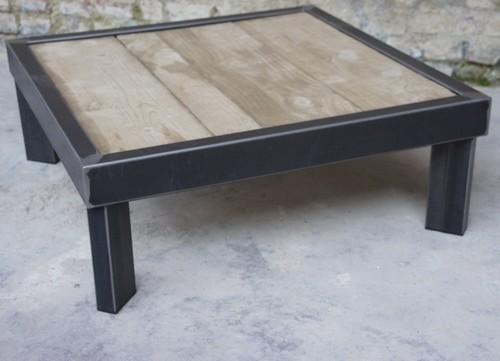 Table basse bois et metel