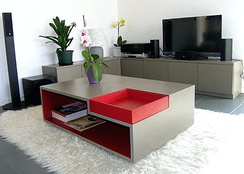 Ensemble table basse et meuble tv en bois