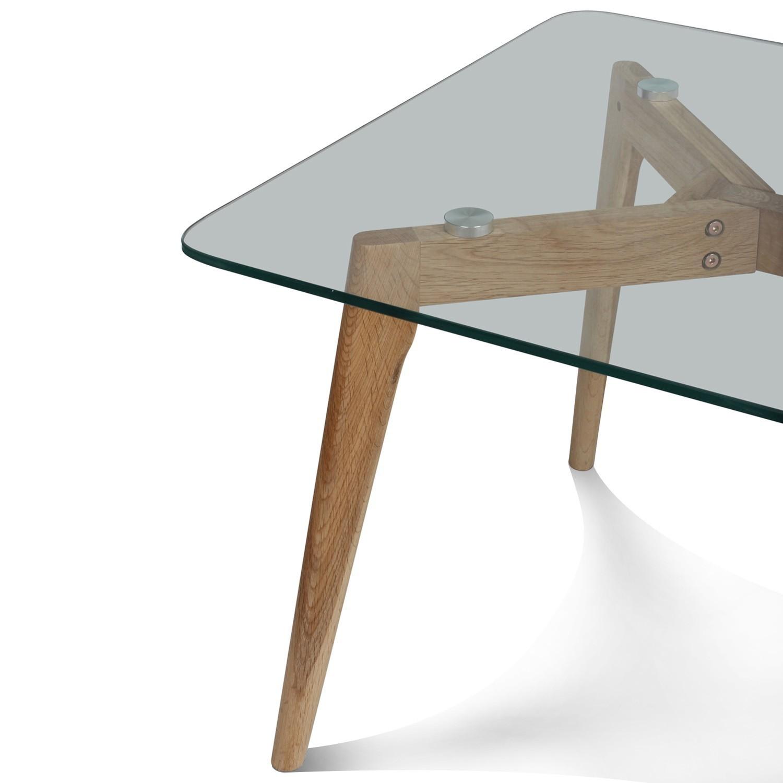Table basse verre pied bois