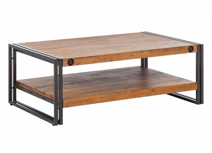 Table basse metal et bois massif