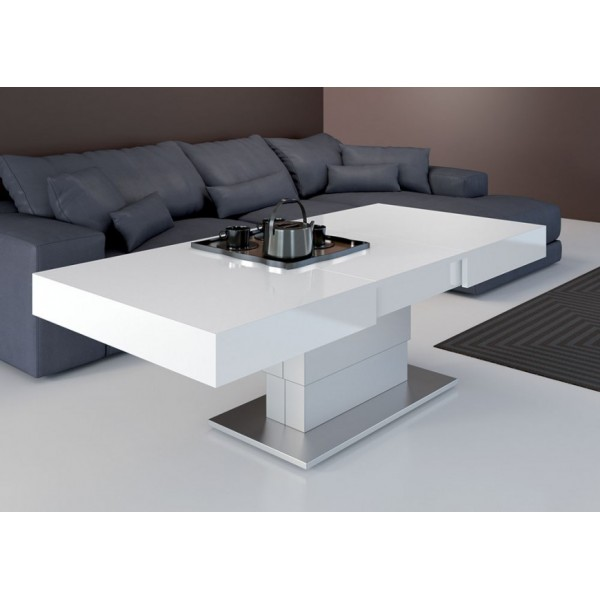 Table basse relevable extensible blanc