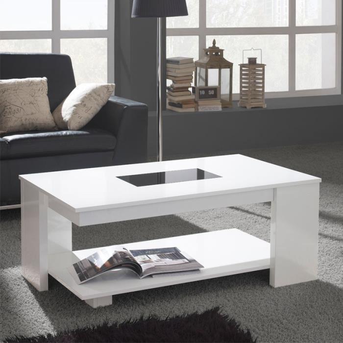 Table basse relevable et extensible jil blanc laqué pieds argent
