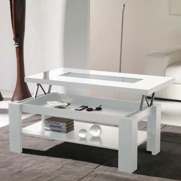 Table basse relevable laquee