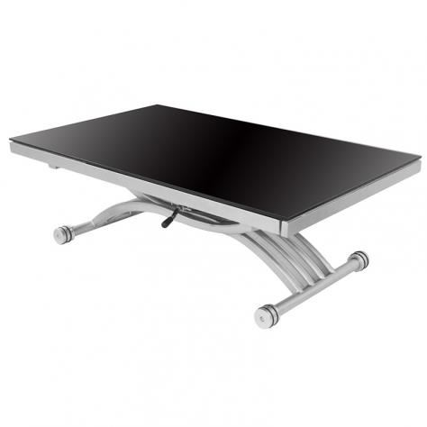 Table basse relevable reality verre noir