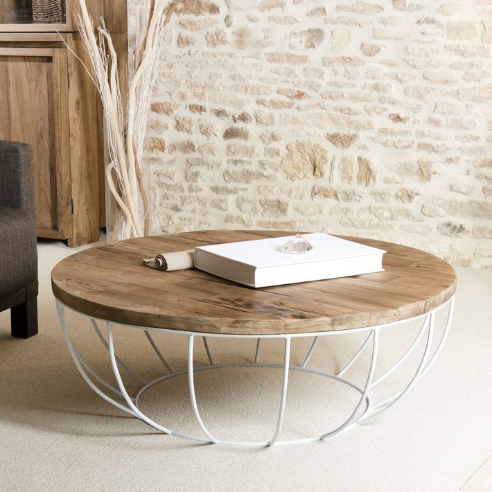 Table basse ronde bois pied metal