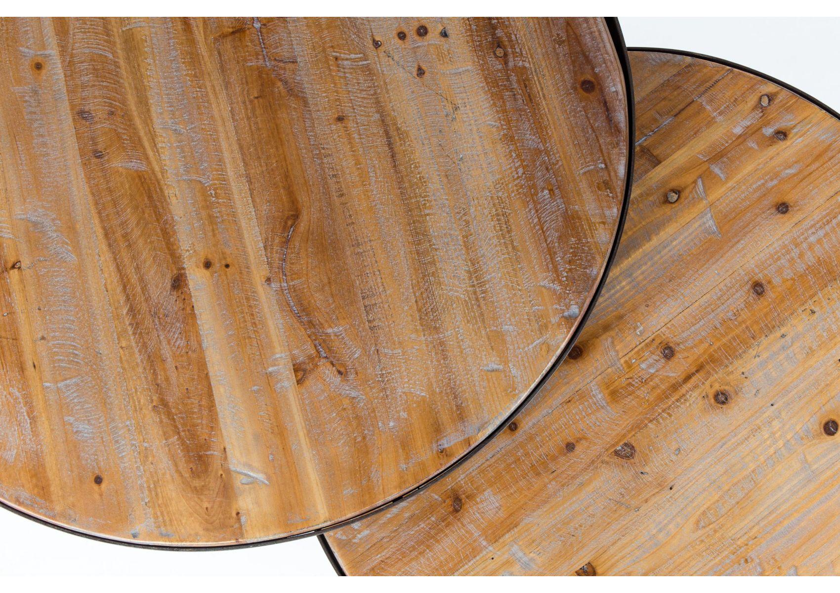 Table basse gigogne ronde bois et metal