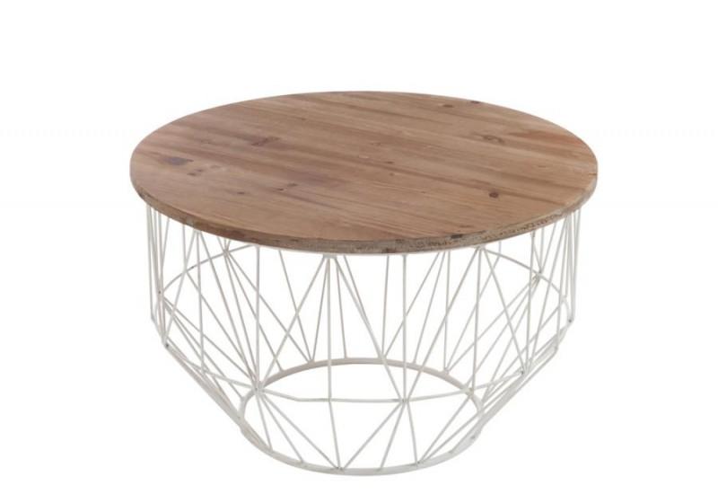 Table basse ronde acier et bois