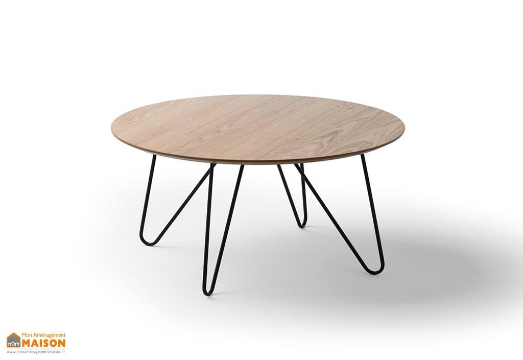 Table basse en bois avec pied metal