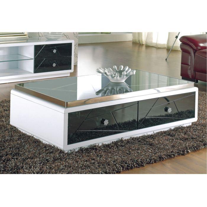 Table basse en verre avec rangement