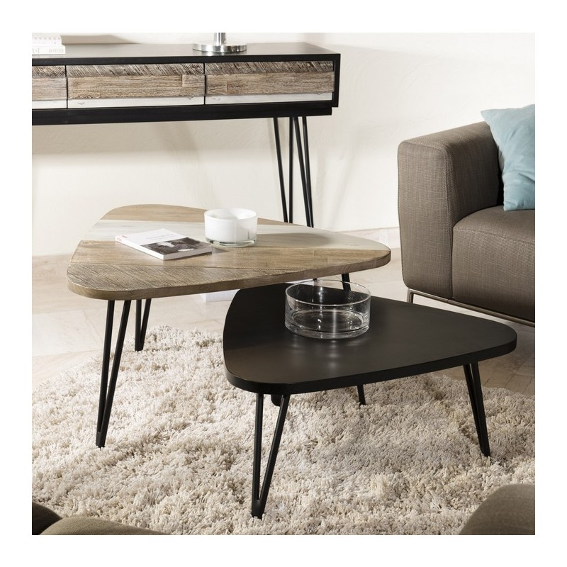 Table basse bois pieds triangulaire