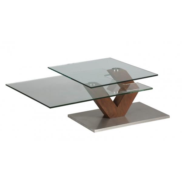 Table basse bois plateau pivotant