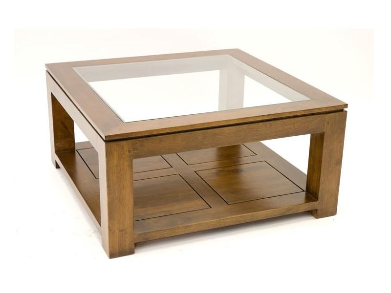 Table basse carré bois verre
