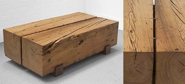 Table basse en bois fait main