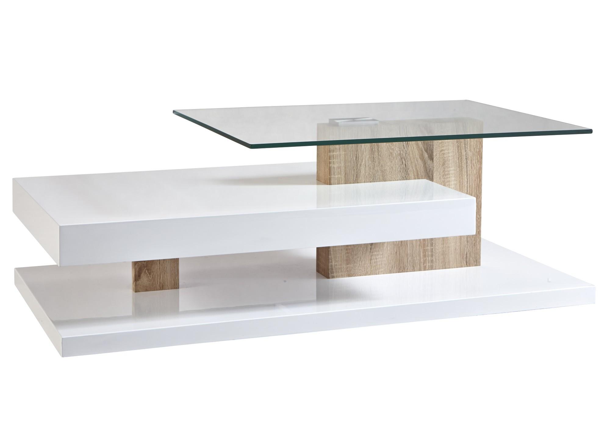 Table basse en verre et bois blanc