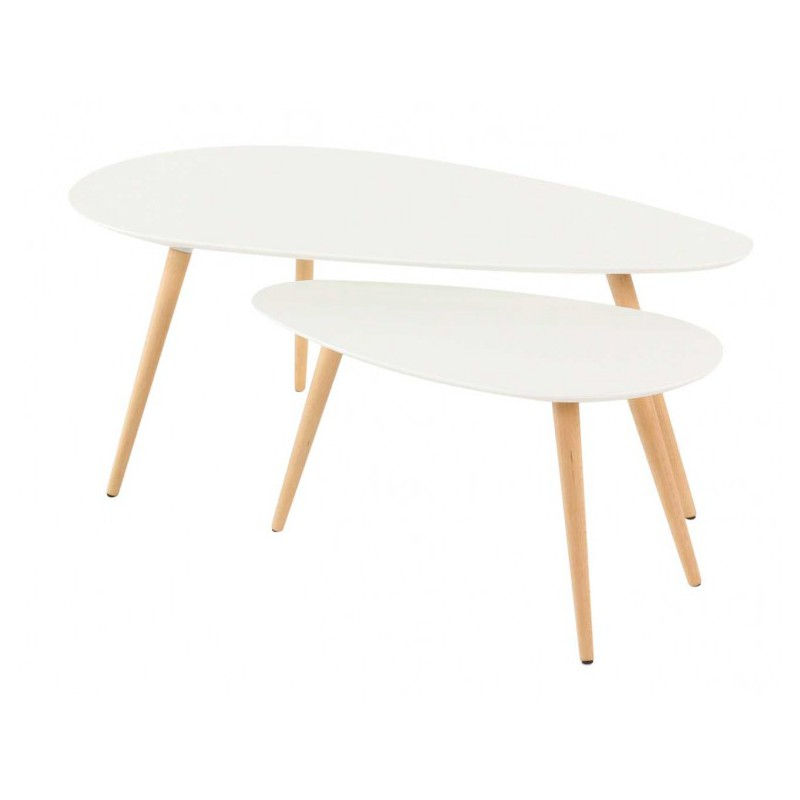 Table basse gigogne scandinave blanche