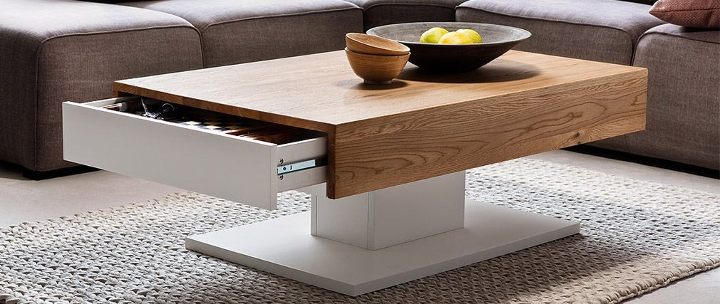 Table basse design blanc et bois