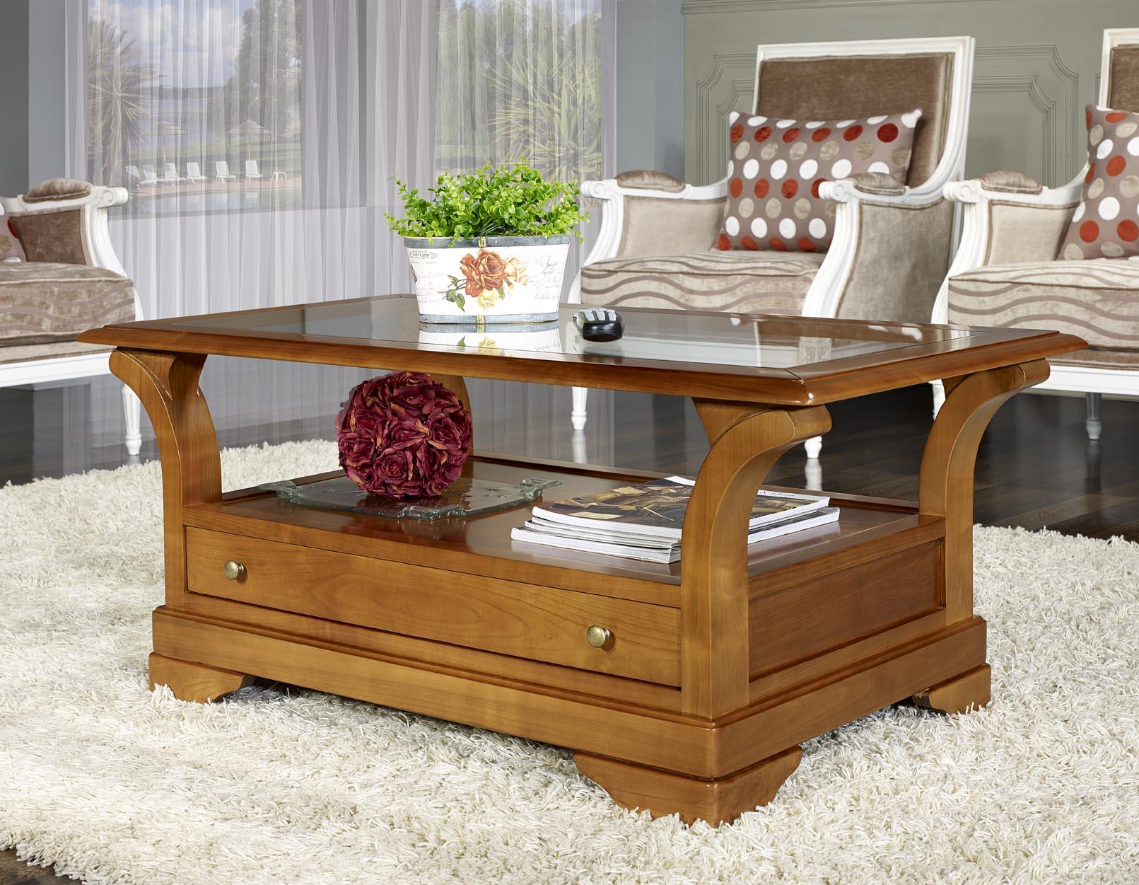 Table basse en bois louis philippe
