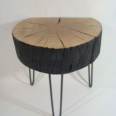 Table basse bois brule