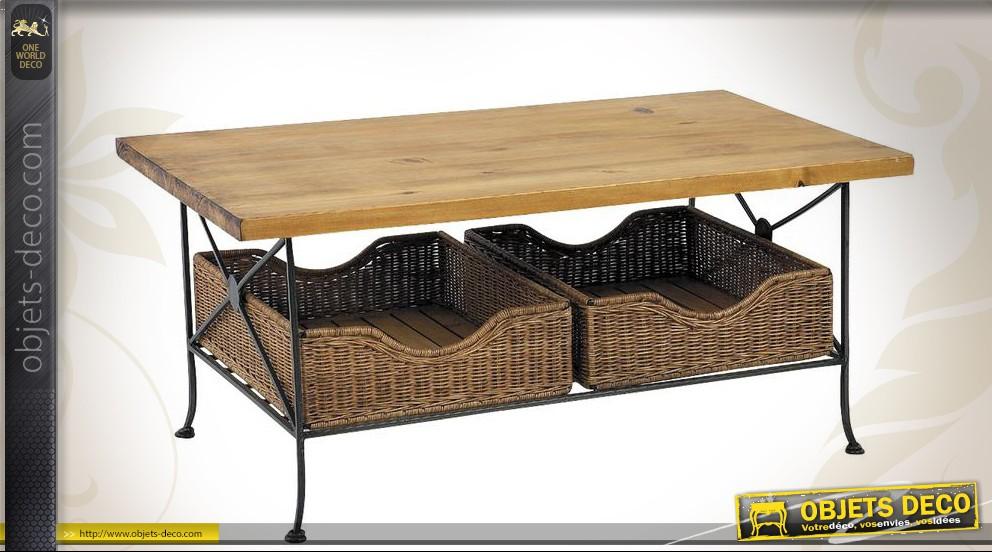 Table basse bois et fer forge blanc