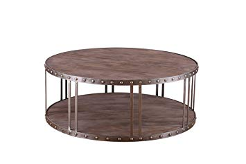 Table basse bois cloutée