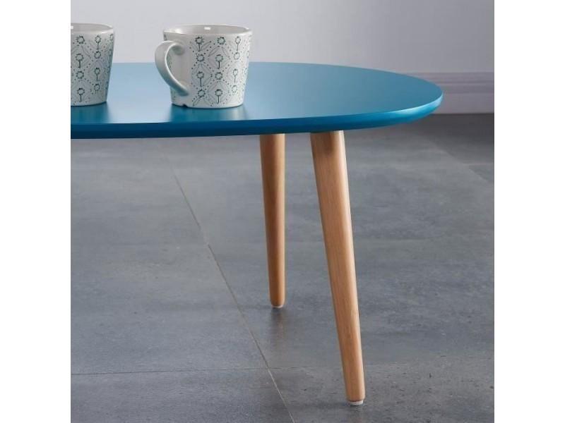 Table basse scandinave bleu petrole