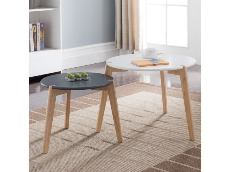 Table basse blanche ronde scandinave