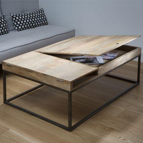 Table basse bois metal soldes