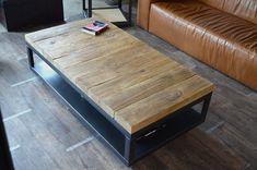 Table basse bois pouf integre