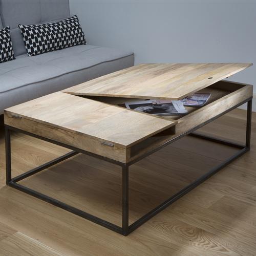 Table basse verre metal bois