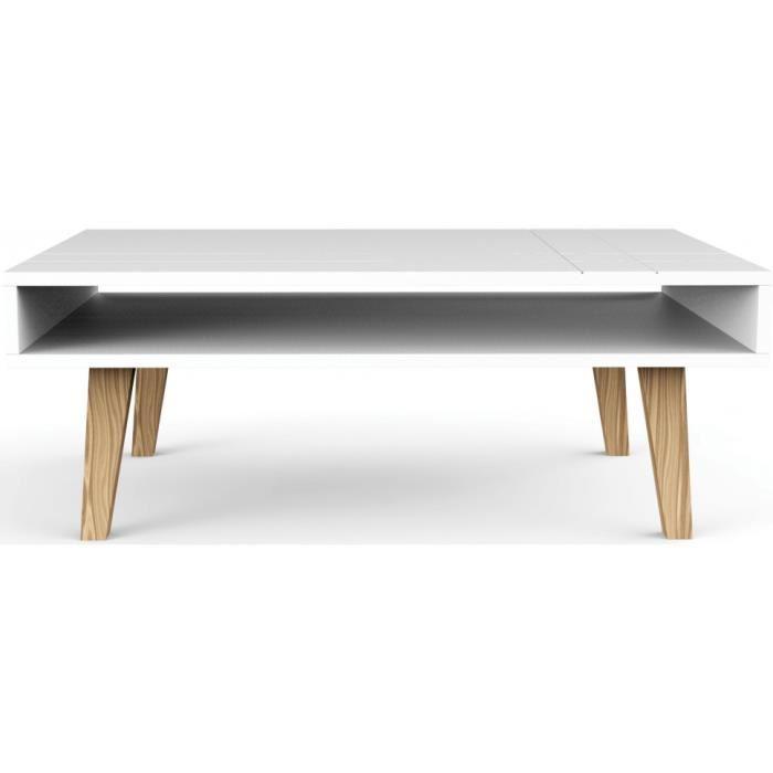 Table basse laquée blanc scandinave