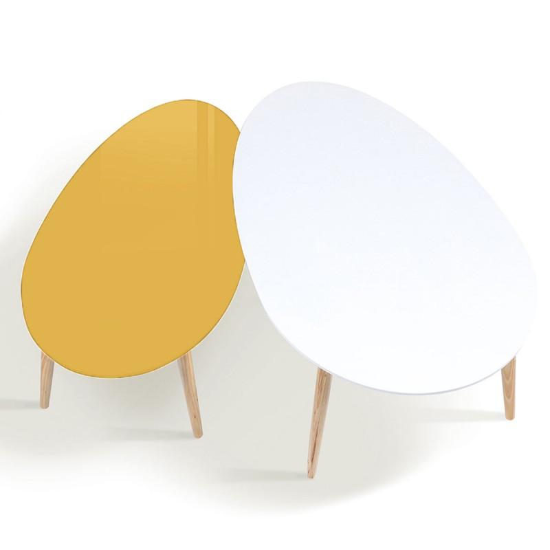Table basse scandinave jaune et blanche