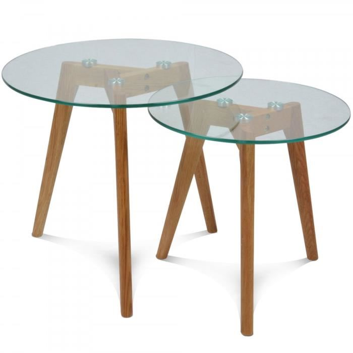 Table basse ronde verre scandinave