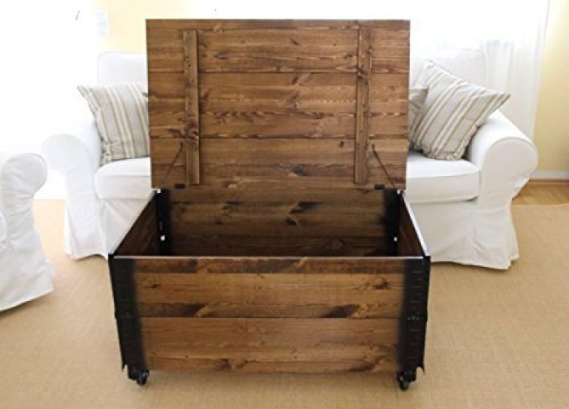 Prista   table basse coffre en bois table d'appoint vintage style shabby chic bois massif noyer