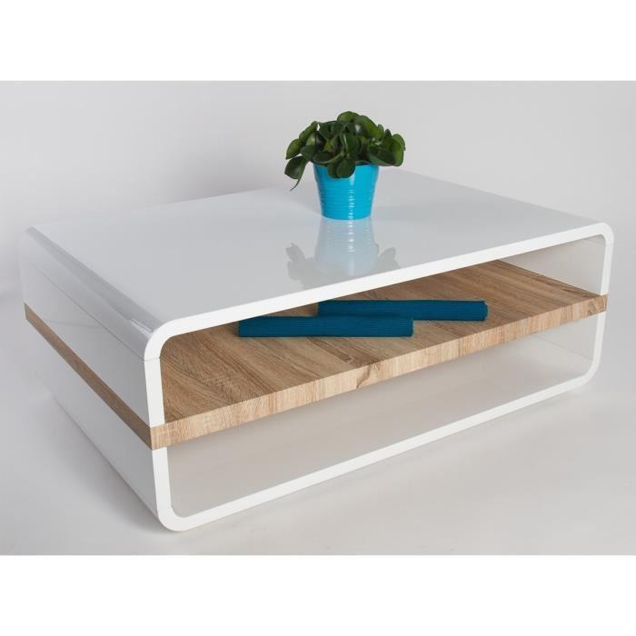 Table basse blanc bois design