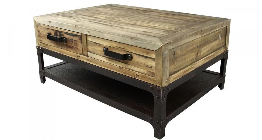 Table basse bois er metal